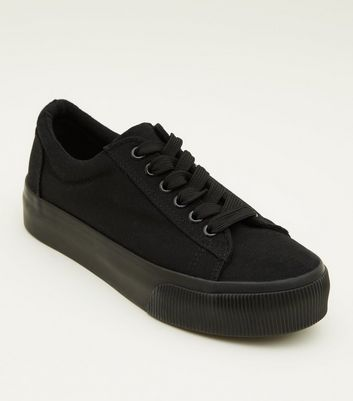 Teens Black Canvas Double Sole Trainers