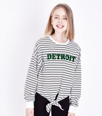 Girls White Stripe Detroit Tie Front Sweatshirt