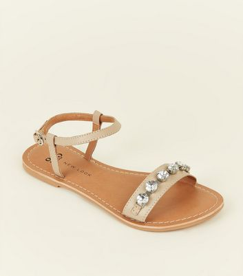 Teens Nude Leather Gem Embellished Sandals