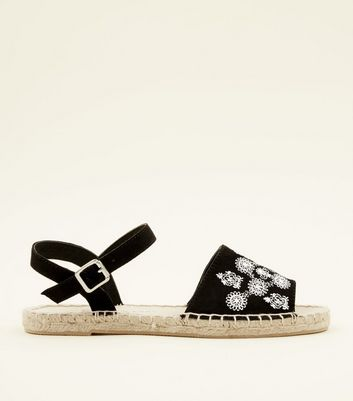 Girls Black Embroidered Peep Toe Espadrilles
