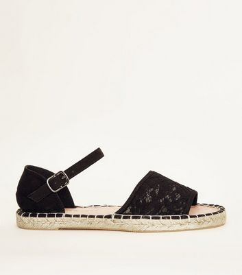 Girls Black Lace Peep Toe Espadrilles