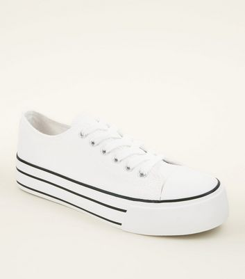White Flatform Canvas Trainers