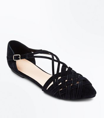 Black Suede Woven Pointed Pumps