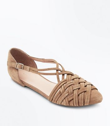 Tan Suede Woven Pointed Pumps