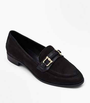 Black Leather Bar Front Loafers by New Look