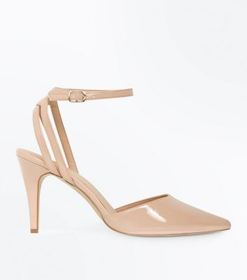 Nude Patent Strappy Back Pointed Heels