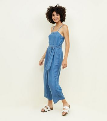 Blue Square Neck Lightweight Denim Jumpsuit