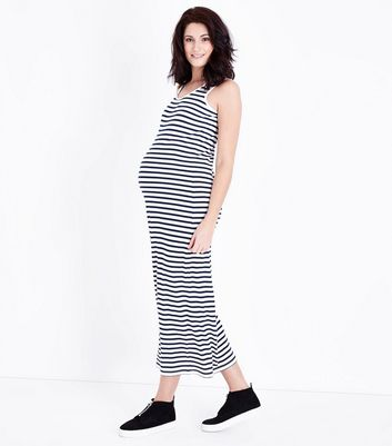 Maternity Blue Stripe Sleeveless Maxi Dress