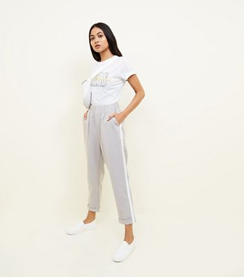 Petite Grey Side Stripe Tapered Trousers