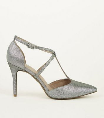 Silver Comfort Flex Shimmer T-Bar Strappy Courts