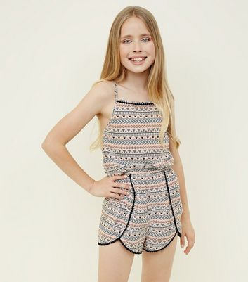 Teens Black Aztec Print Beach Playsuit