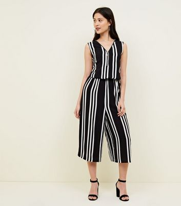 Petite Black Zip Front Stripe Jumpsuit