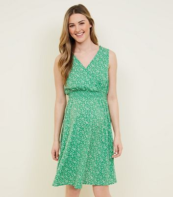 Maternity Green Ditsy Floral Shirred Waist Dress