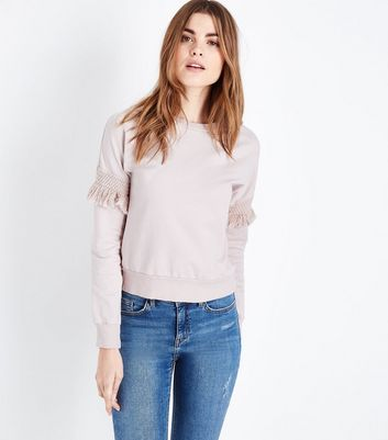 Lulua London Pink Tassel Sleeve Sweatshirt