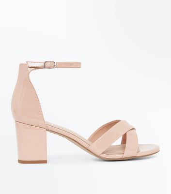 Nude Comfort Flex Patent Cross Strap Heeled Sandals by New Look