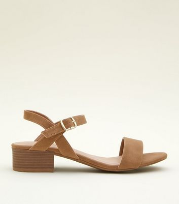 Tan Leather-Look Low Block Heel Sandals