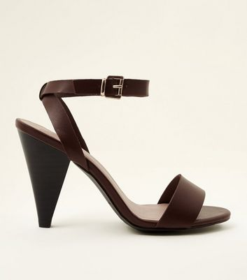 Dark Rust Leather-Look Cone Heel Sandals