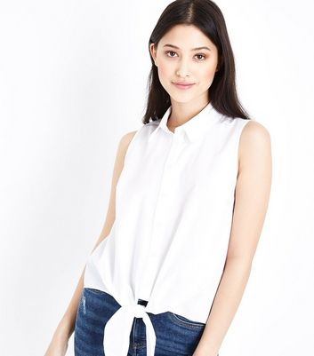 Petite White Poplin Sleeveless Tie Front Shirt