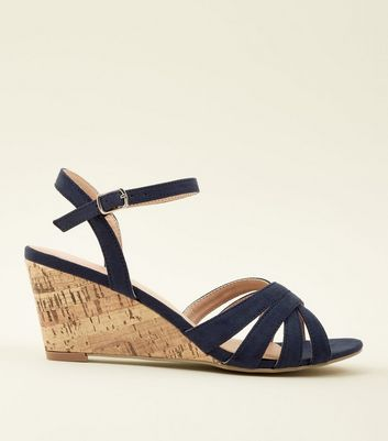Navy Suedette Low Heel Cork Wedges
