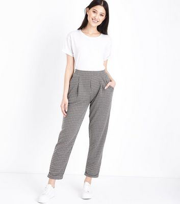 Petite Brown Check Slim Leg Trousers