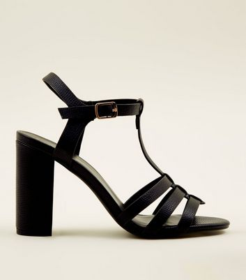 Black Leather-Look T-Bar Gladiator Block Heels