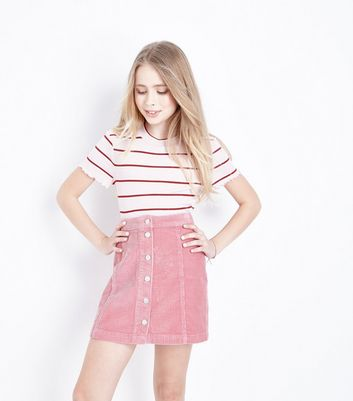 Teens Pink Corduroy Button Front Skirt