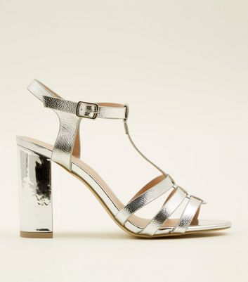 Silver Metallic T-Bar Gladiator Block Heels
