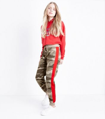 Teens Green Camo Side Stripe Joggers