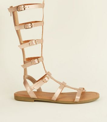 Rose Gold High Leg Gladiator Sandals