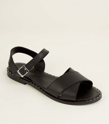 Black Leather Stud Trim Cross Strap Flat Sandals by New Look