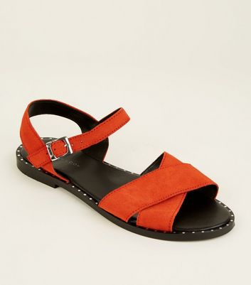 Red Suede Stud Trim Cross Strap Flat Sandals