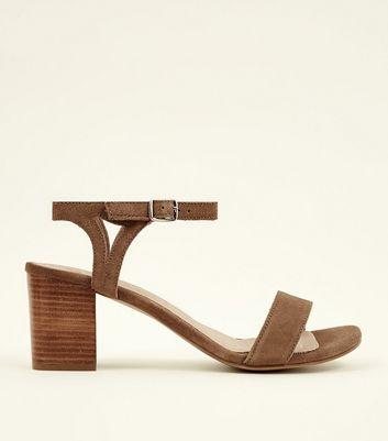 Brown Suede Comfort Flex Block Heel Sandals by New Look