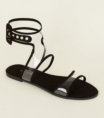 Black Clear Ankle Strap Flat Sandals