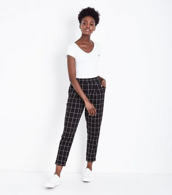 Black Wide Check Jersey Tapered Trousers