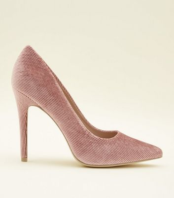Mid Pink Corduroy Pointed Court Heels