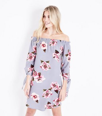 Cameo Rose Grey Tie Sleeve Bardot Dress
