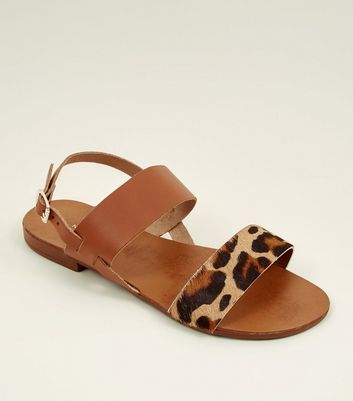Wide Fit Tan Leather Leopard Print Strap Sandals