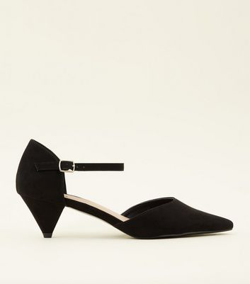Wide Fit Black Suedette Cone Heels by New Look