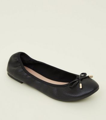 Wide Fit Black Leather Look Elastic Ballet Pumps by New Look
