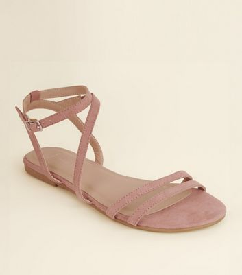 Wide Fit Pink Suedette Asymmetric Strap Sandals