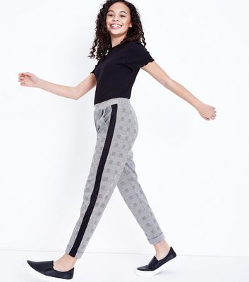 Teens Light Grey Check Stripe Side Trousers