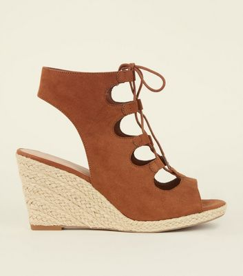 Tan Suedette Ghillie Lace Up Espadrille Wedges