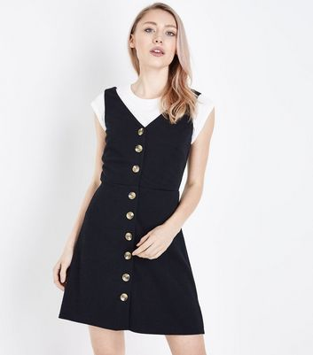 Petite Black Button Front Pinafore Dress