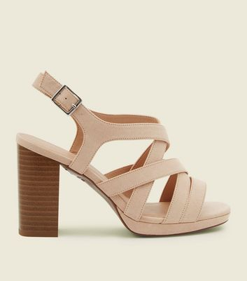 Wide Fit Nude Suedette Strappy Platform Sandals