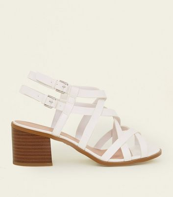 Wide Fit White Strappy Block Heel Sandals