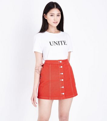 Petite Red Button Front Denim Mini Skirt