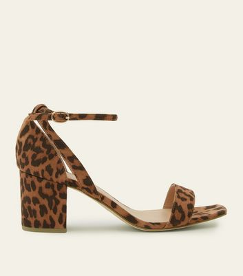 Wide Fit Tan Leopard Print Block Heel Sandals