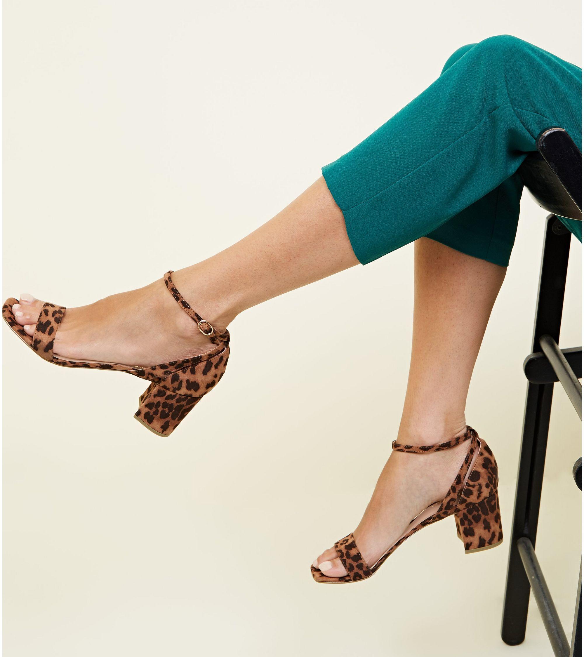 73aaffc69ab New Look Wide Fit Tan Leopard Print Block Heel Sandals at £19.99 ...