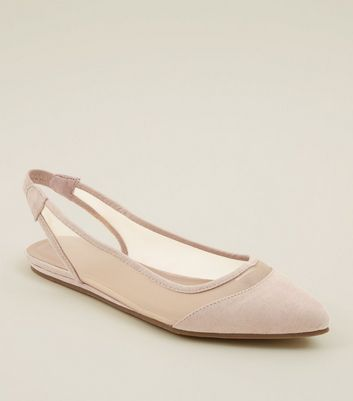 Wide Fit Nude Suedette Mesh Panel Slingback Pumps by New Look