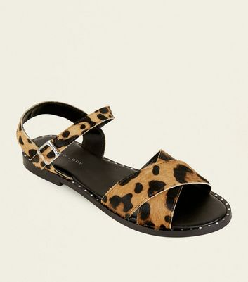 Stone Leather Leopard Print Studded Sandals